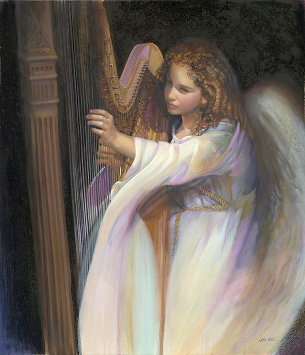 Angel with Harp – The Art of N.A. Noël